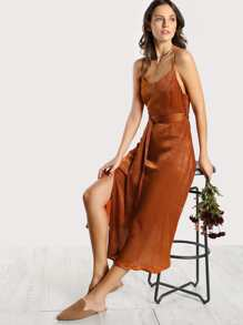 O Ring Slinky Cami Dress BRONZE