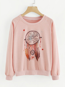 Graphic Print Raglan Sweatshirt