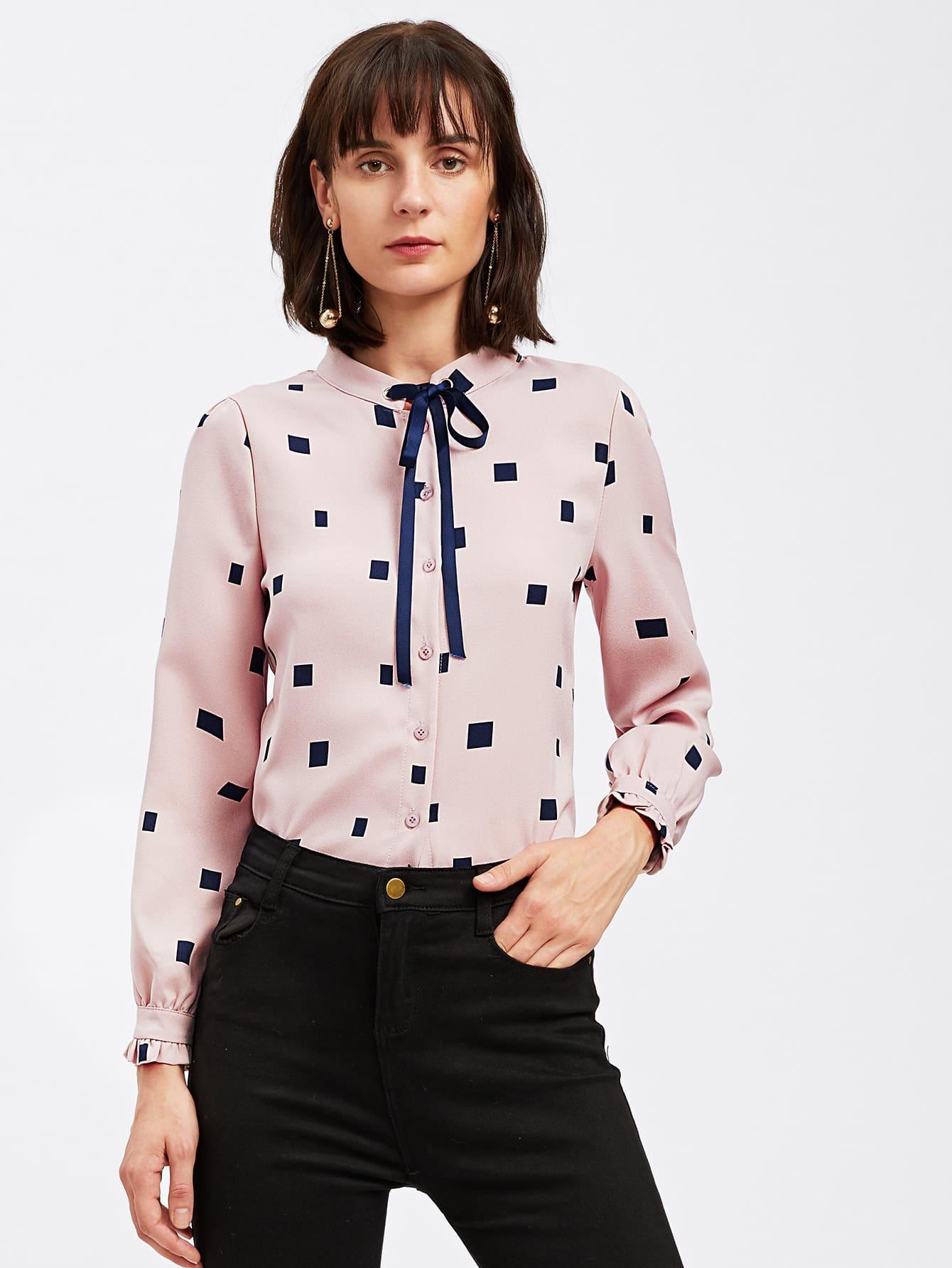 Купить Модная блуза с бантом и графическим принтом, Ksenia G, SheIn