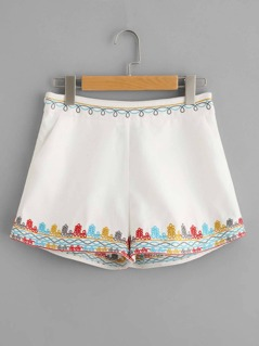 Embroidered Waist And Hem Shorts