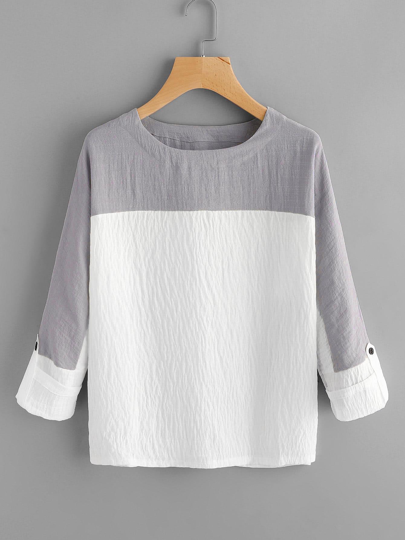 Two Tone Rolled Sleeve Blouse two tone drop shoulder sweatshirt