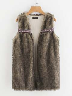 Coin Fringe And Embroidery Tape Detail Faux Fur Vest