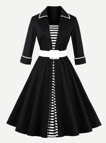 Contrast Trim Striped Panel Circle Dress