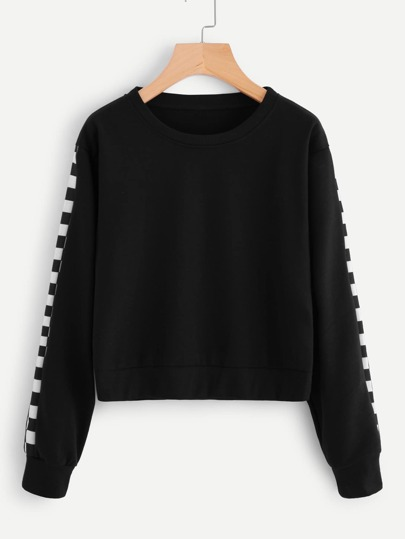 Contrast Checked Sleeve Sweatshirt