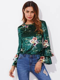 Layered Trumpet Sleeve Floral Velvet Top