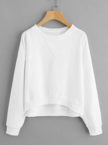 Triangle Patch Dip Hem Sweatshirt