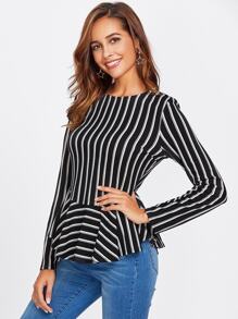 Keyhole Back Curved Frill Hem Striped Tee