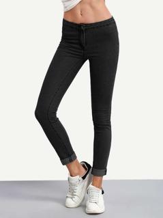 Rolled Hem Patch Pocket Back Jeans