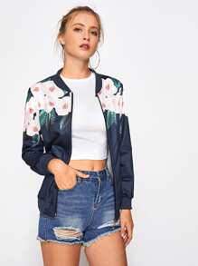 Ribbed Trim Florals Jacket