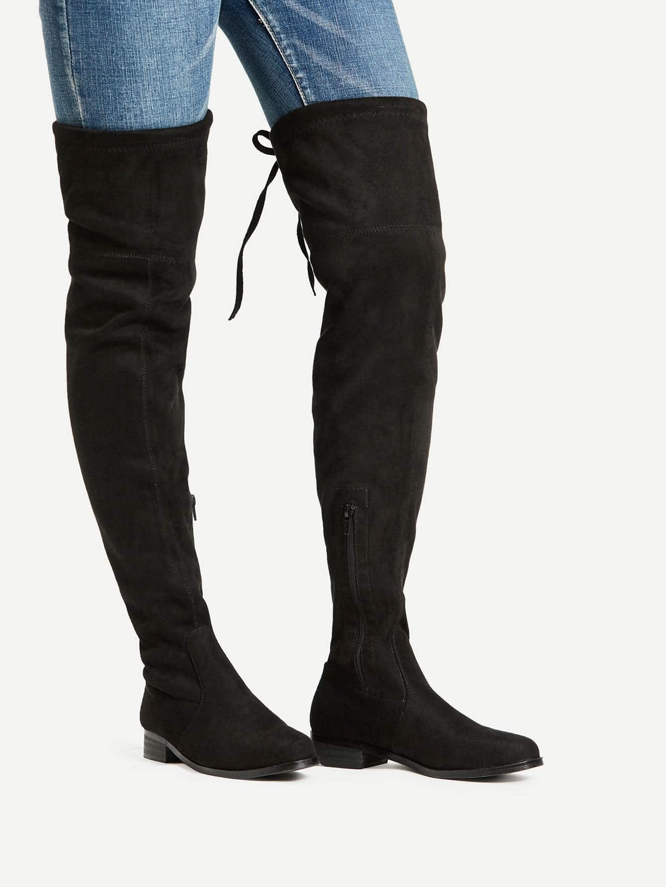 toe lace up thigh high boots shein sheinside