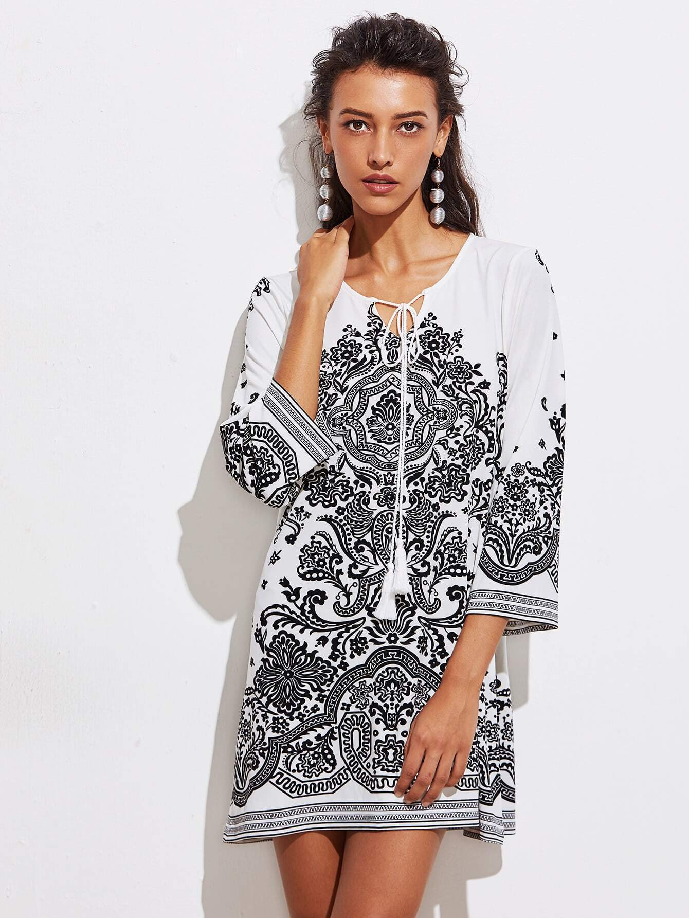 Tasseled Tie Neck Vine Print Dress dress170918459
