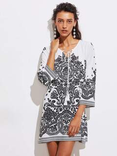 Tasseled Tie Neck Vine Print Dress