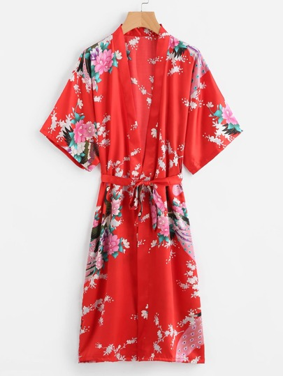 Peacock Print Satin Kimono Robe With Belt