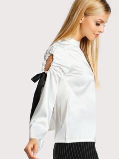 Shoulder Cut Out Tie Sleeve Top IVORY