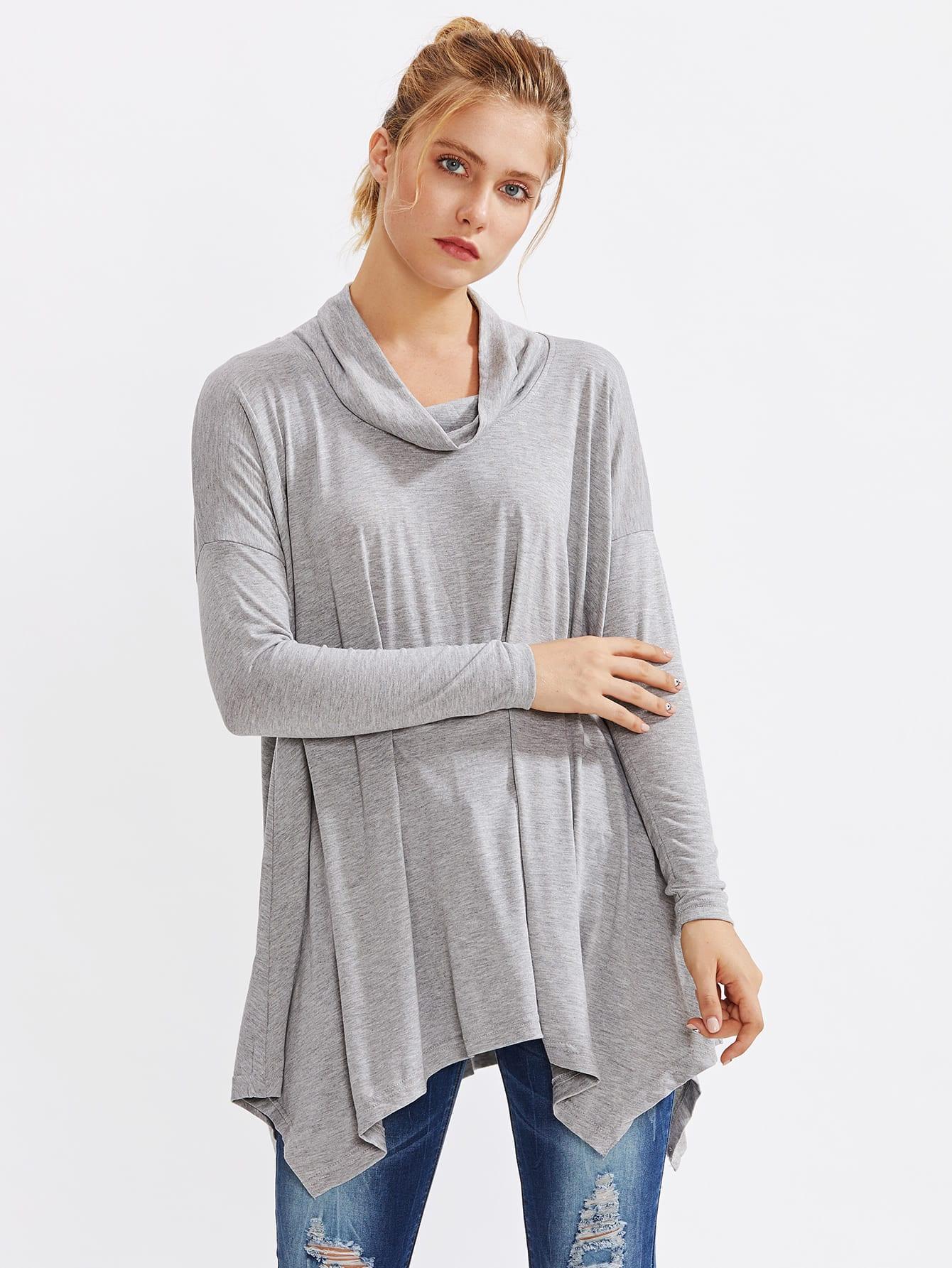 Cowl Neck Drop Shoulder Hanky Hem Marled Tee drop shoulder letter print marled crop sweatshirt