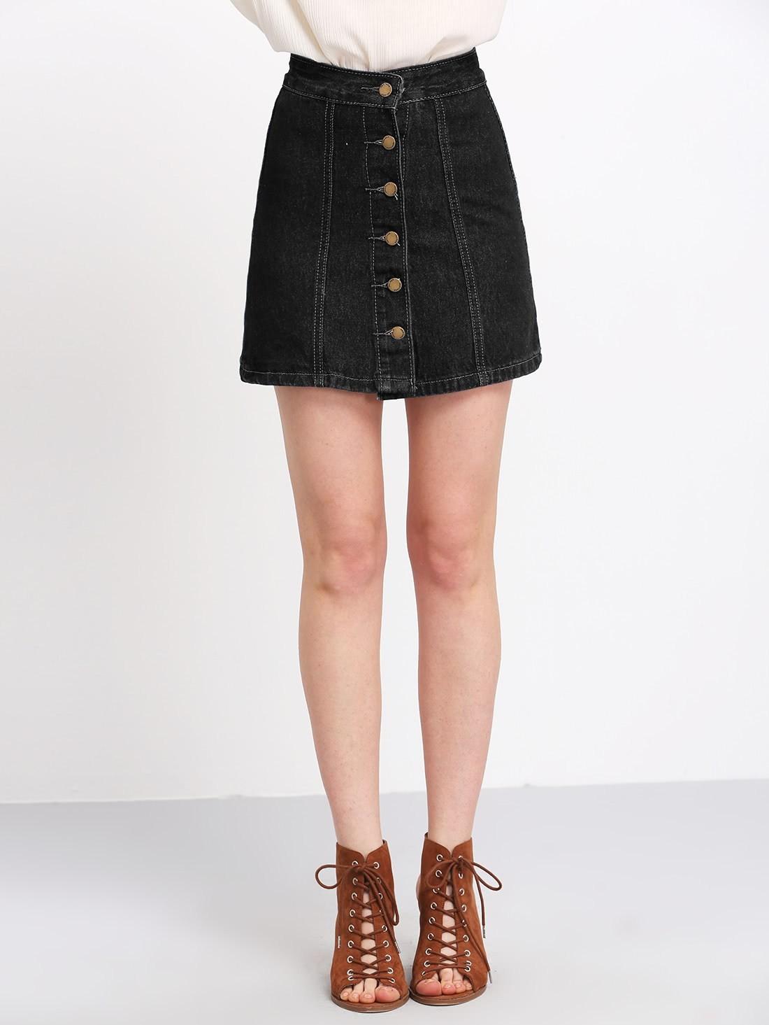 Buttons Through Up Topstitch Denim Skirt