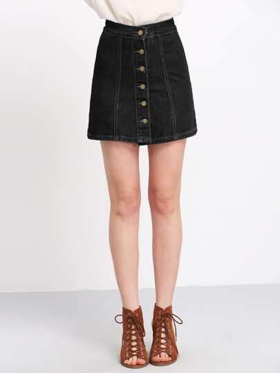 Buttons Through Up Topstitch Denim Skirt