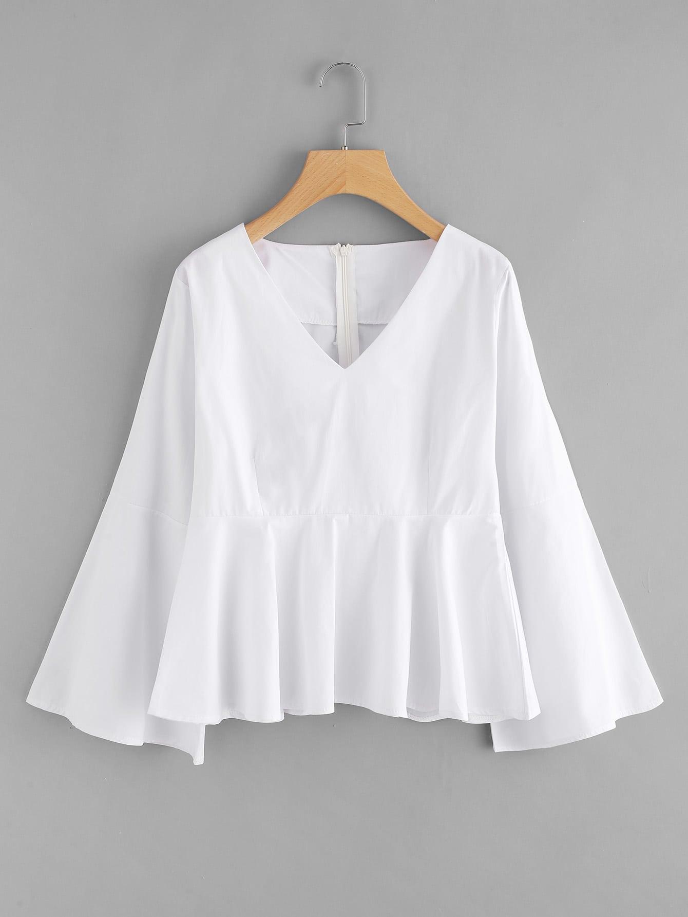 V-neckline Flare Sleeve Pep Hem Blouse bow sleeve v neckline blouse