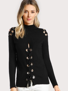 Eyelet Cut Out Long Sleeve Top BLACK