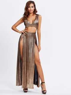 Cutout Midriff M-Slit Metallic Dress
