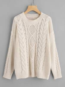 Drop Shoulder Mixed Knit Jumper