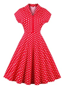 V Neckline Polka Dot Flare Dress