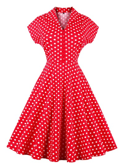 V Neckline Polka Dot Flare Dress