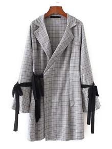 Contrast Tie Plaid Blazer Dress