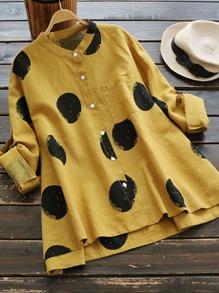 Rolled Sleeve Polka Dot Dip Hem Shirt