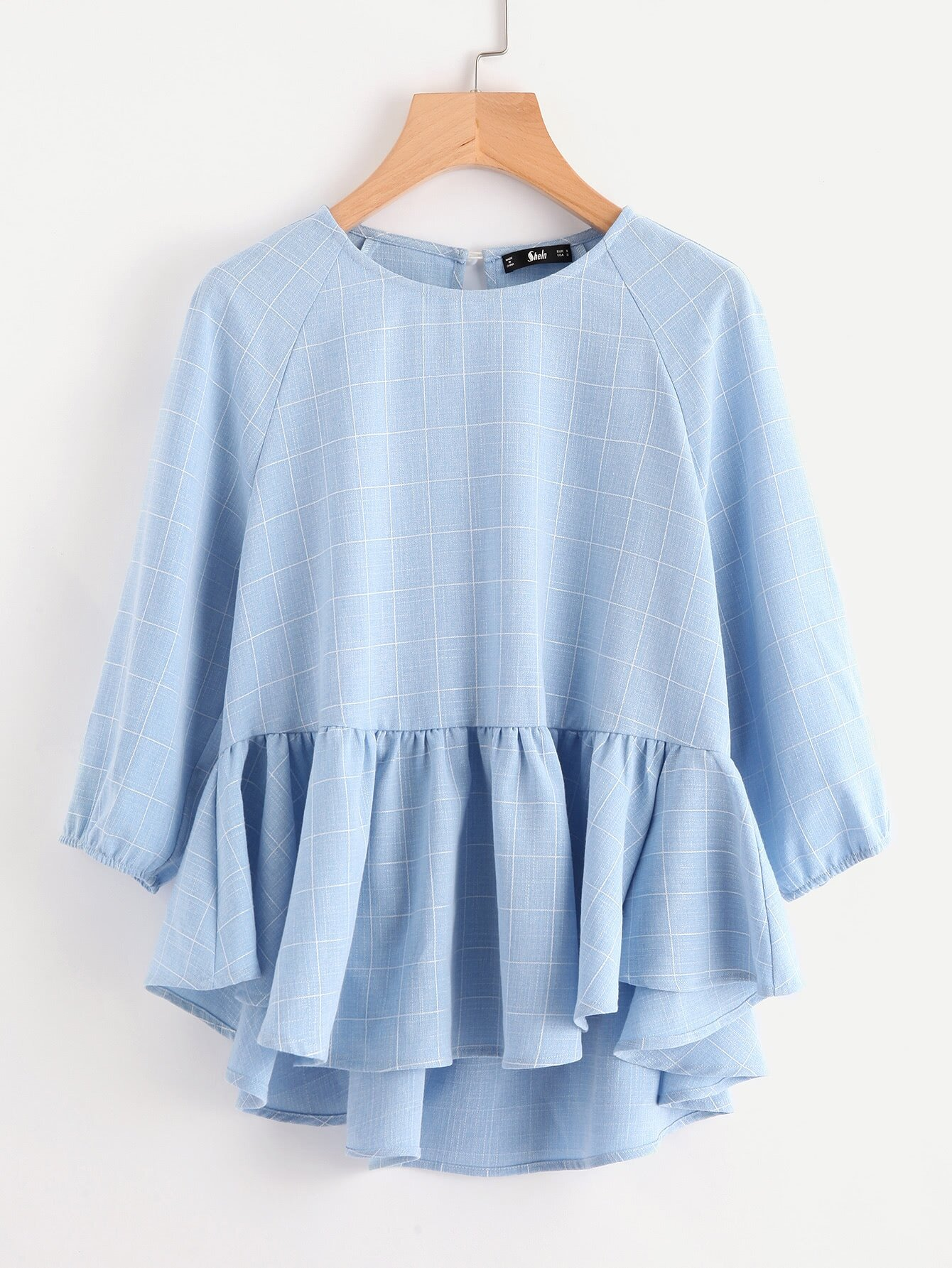 http://de.shein.com/Raglan-Sleeve-Ruffle-Dip-Hem-Grid-Blouse-p-385484-cat-1733.html?utm_source=lifefeminin&utm_medium=blogger&url_from=lifefeminin