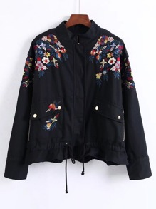 Embroidery Flower Military Peplum Jacket
