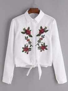 Белая цветочная вышитая футболка с галстуком