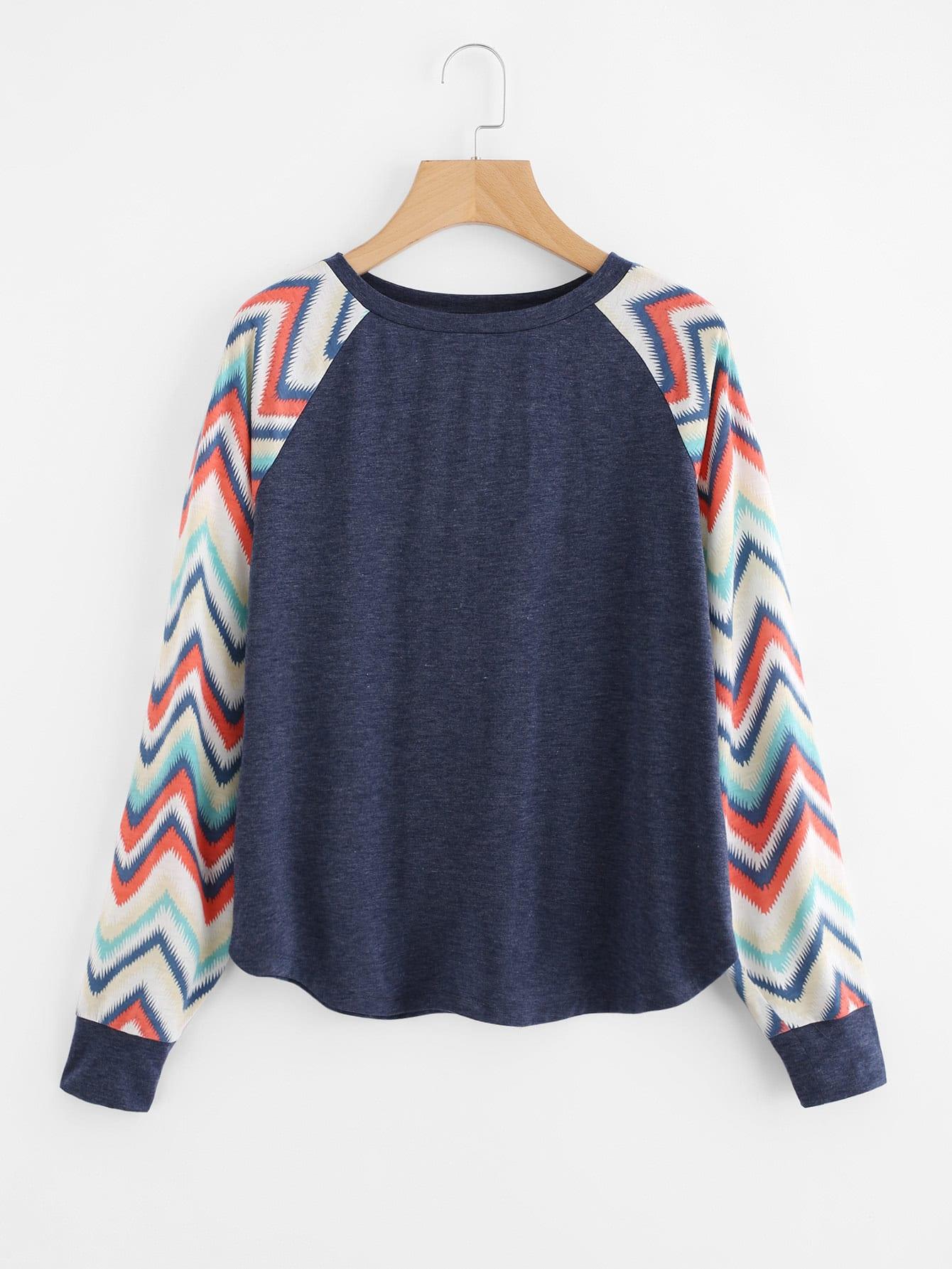 Chevron Raglan Sleeve Heather Knit Tee heather knit fluted sleeve tee