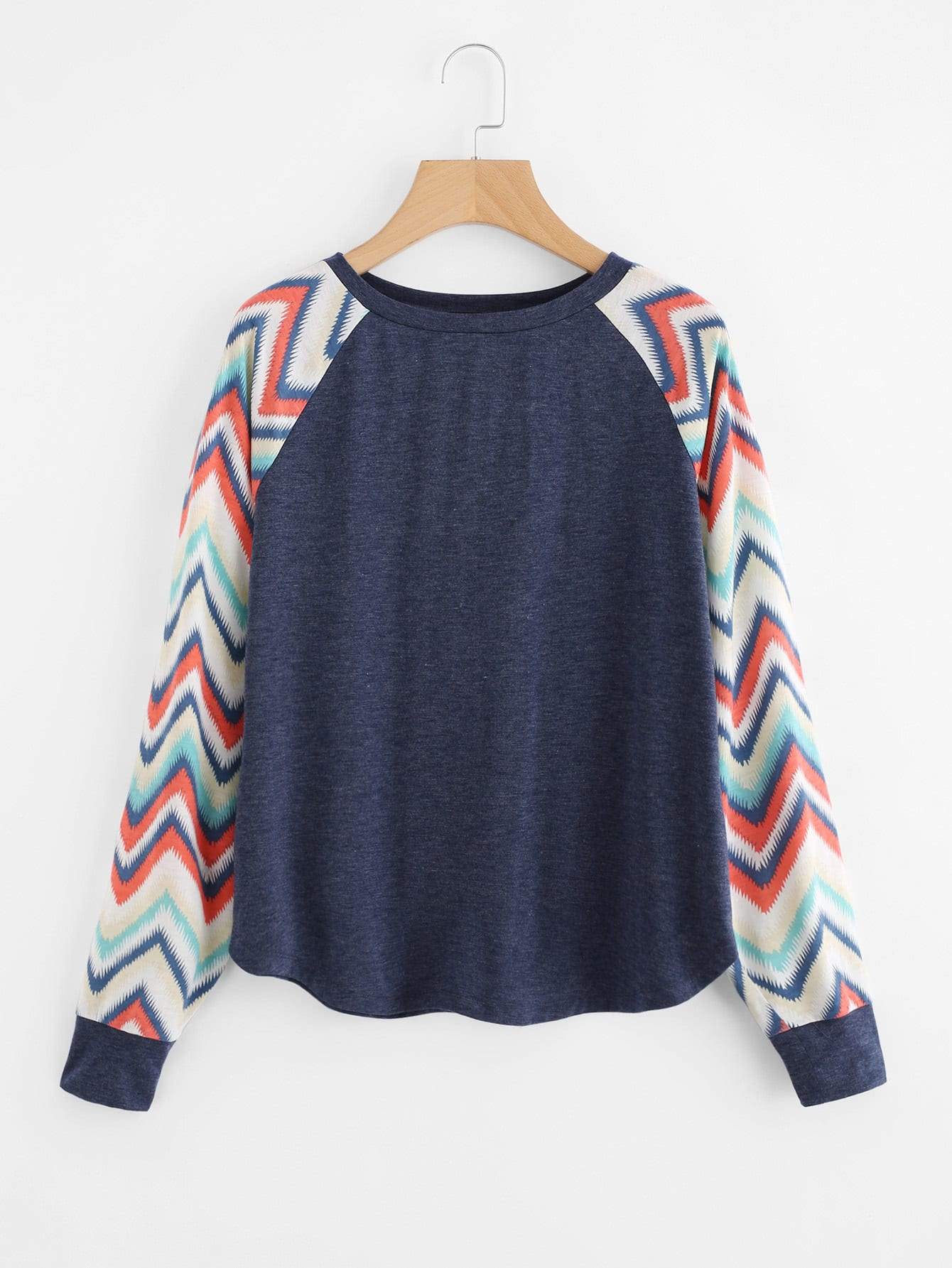 Chevron Raglan Sleeve Heather Knit Tee mesh trim heather knit tee