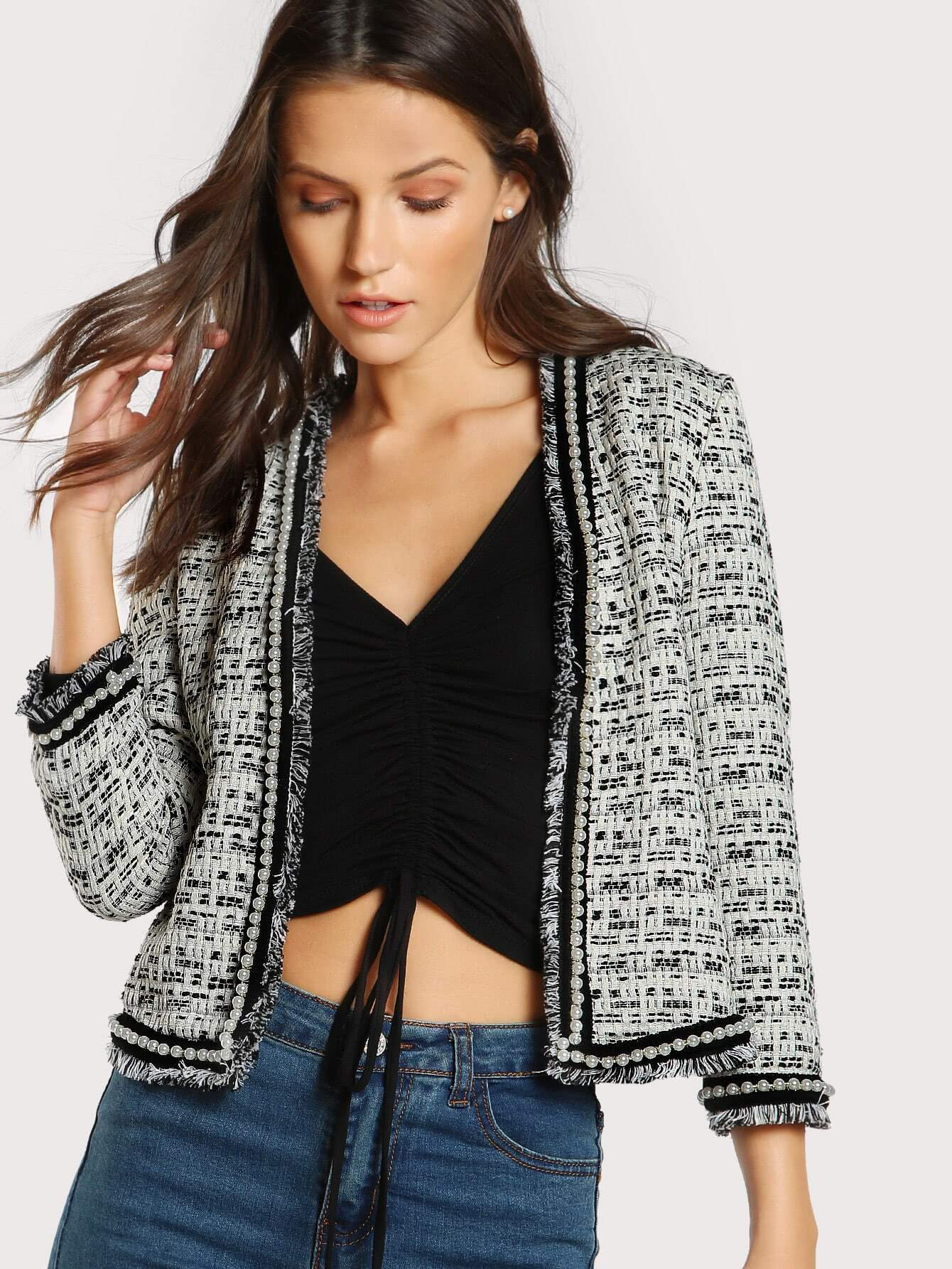 Pearl Beaded Frayed Edge Tweed Blazer frayed trim open front tweed blazer