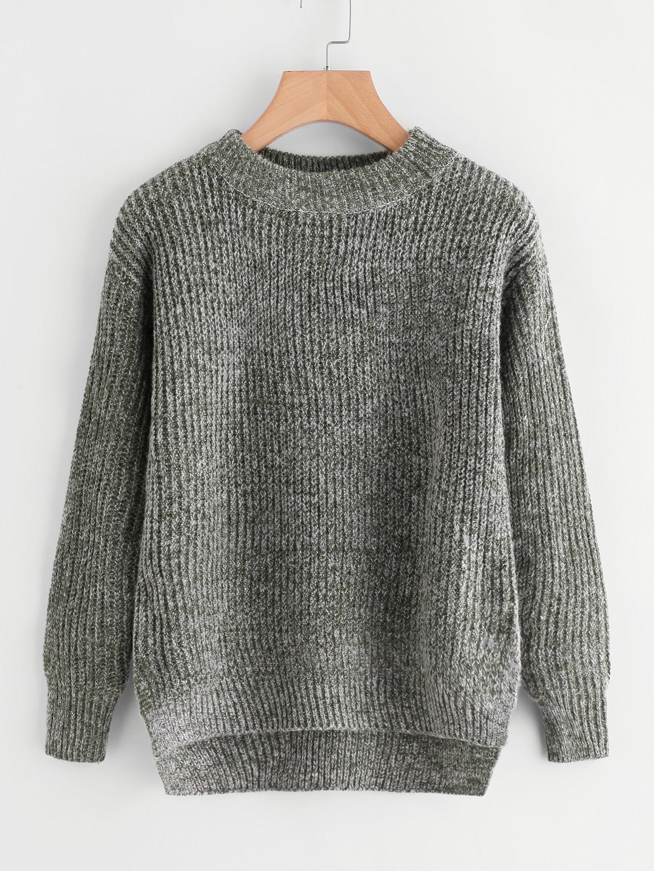 Slit Side High Low Space Dye Sweater