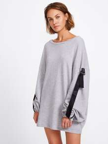 Contrast Strap Zipper Cuff Sweatshirt Dress