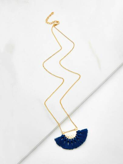Tassel Pendant Layered Chain Necklace