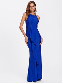 Flounce Trim Halter Maxi Formal Dress