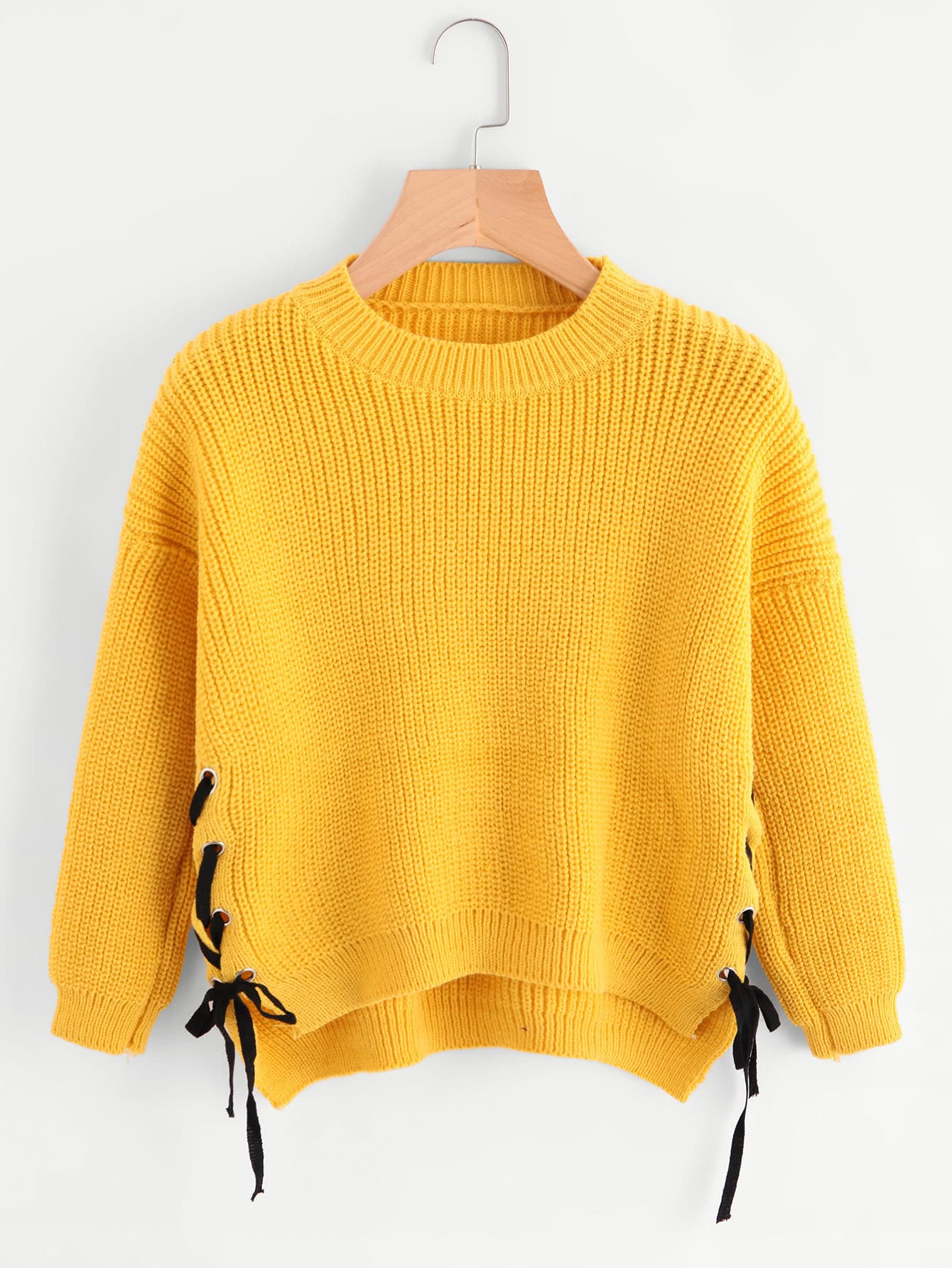 Pullover mit Öse,Schnüren auf den Seiten und abfallendem Saum