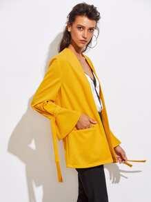 Tied Bell Cuff Welt Pocket Jersey Blazer