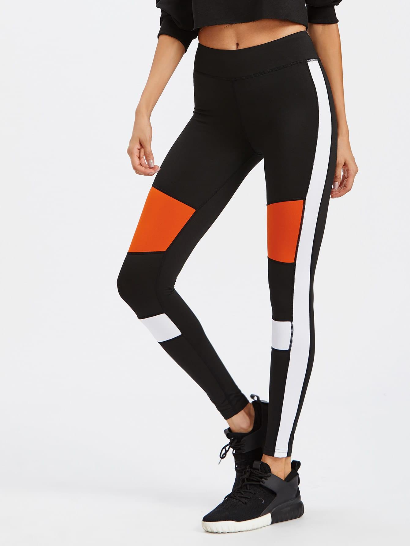 Active Contrast Panel Leggings leggings170918301