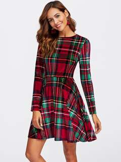 Fitted & Flared Checked Dress