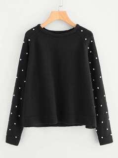 Pearl Beaded Raglan Sleeve Sweater