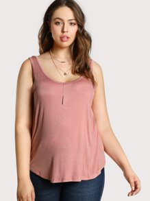 Lightweight Rounded Hem Tank Top PINK