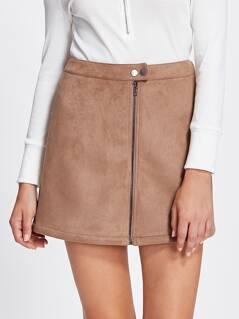 Zip Up Suede Skirt