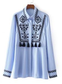 Tassel Embellished Embroidered Stripe Blouse