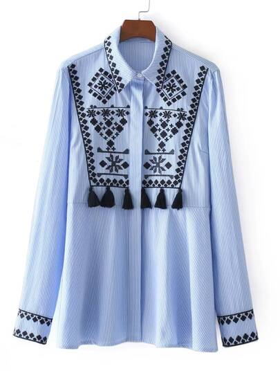 Tassel Embellished Embroidered Stripe Blouse