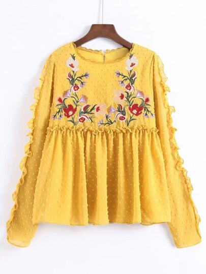 Embroidery Detail Ruffle Trim Babydoll Blouse