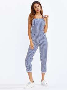 Bib Pocket Front Striped Overalls